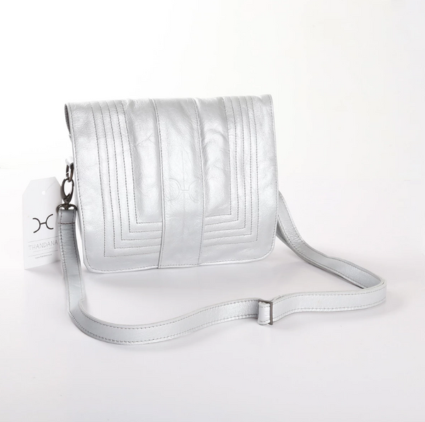 Thandana Katie Metallic Leather Sling Clutch | SIlver - KaryKase