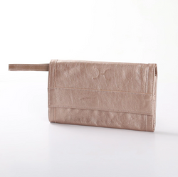 Thandana Metallic Leather Travel Wallet | Champagne - KaryKase