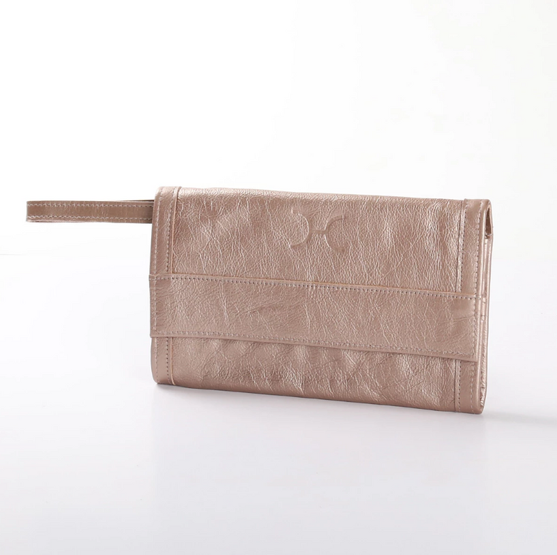 Thandana Metallic Leather Travel Wallet | Champagne