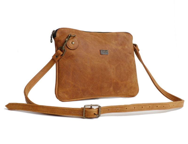 Tan Leather Goods - Taylor Leather Sling Bag | Toffee - KaryKase