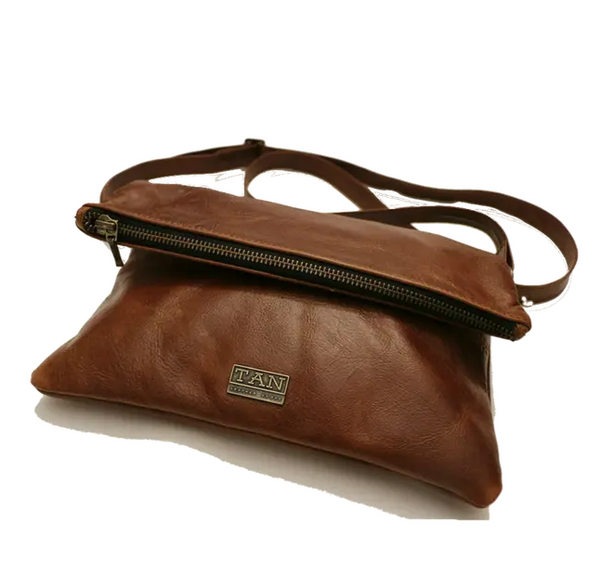 Tan Leather Goods - Nina Leather Sling Bag | Pecan - KaryKase
