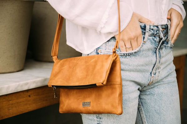 Tan Leather Goods - Nina Leather Sling Bag | Toffee - KaryKase