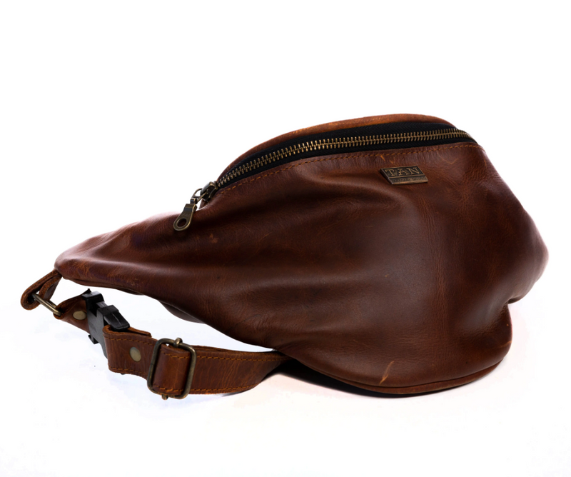 Tan Leather Goods - Johnny Leather Moon Bag | Havanna - KaryKase