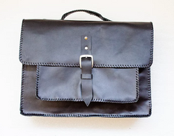 Mebala Masego Handmade Leather Laptop Bag | Black - KaryKase