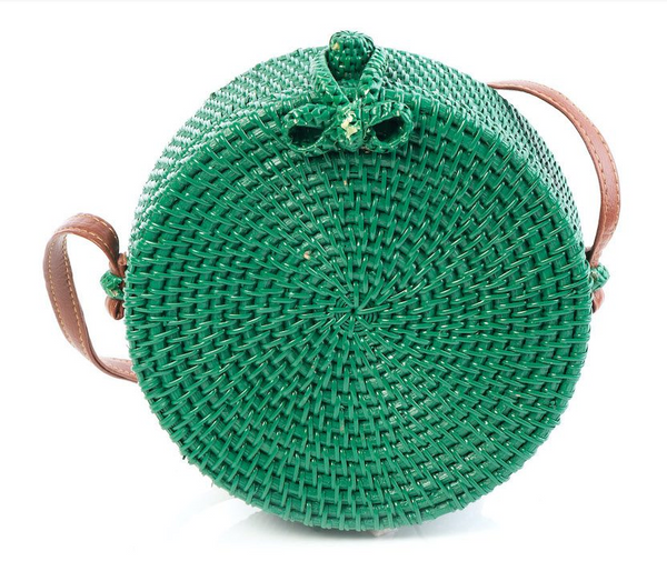 Tessa Design Round Wicker Bag | Green - KaryKase