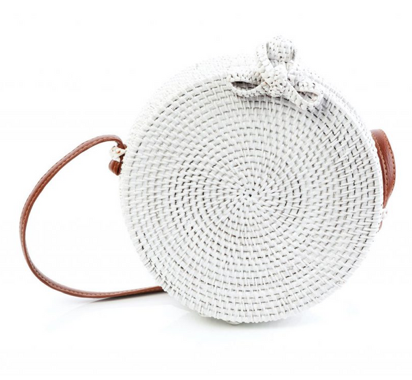 Tessa Design Round Wicker Bag | White - KaryKase