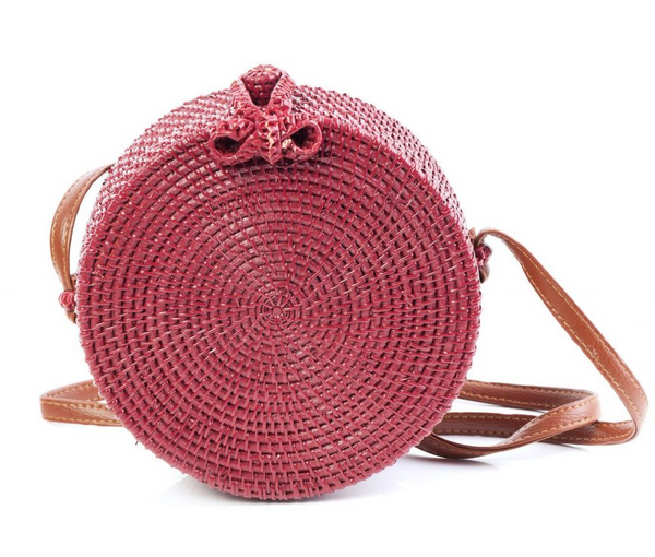 Tessa Design Round Wicker Bag | Red - KaryKase