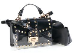 Tessa Design Studded Transparent Bag | Black - KaryKase