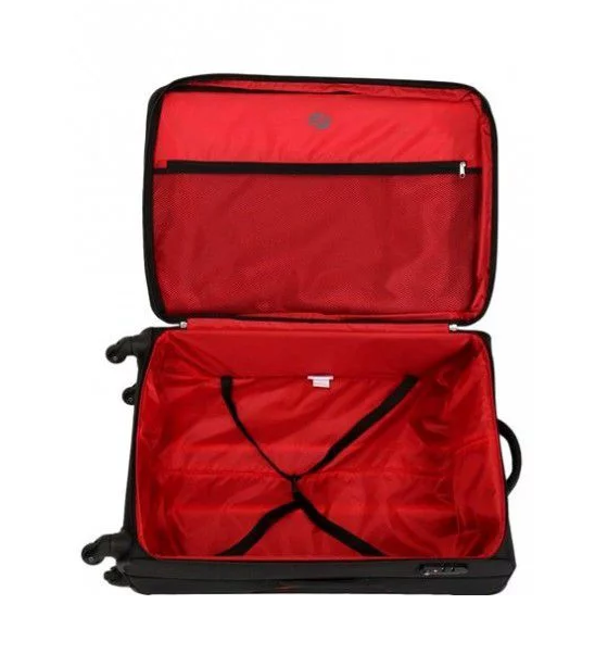 American Tourister Sky 68cm Medium Spinner - Expandable | Black/Red - KaryKase