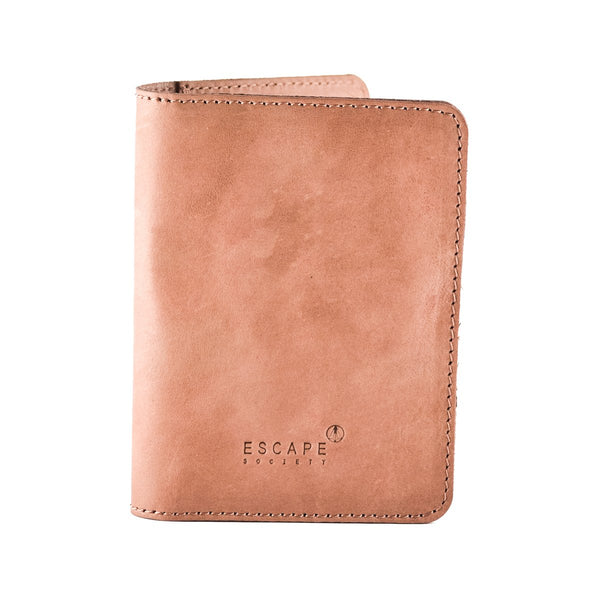 Escape Society Genuine Leather Passport Holder | Dusty Pink - KaryKase