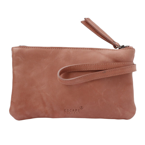 Escape Society Genuine Leather Travel Wallet | Dusty Pink - KaryKase