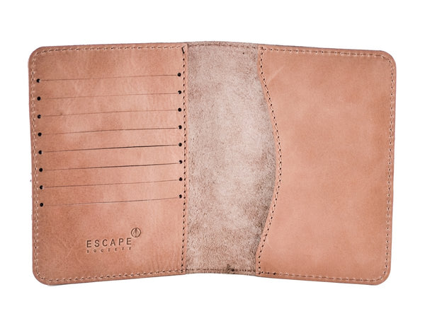 Escape Society Genuine Leather Passport Holder | Dusty Pink