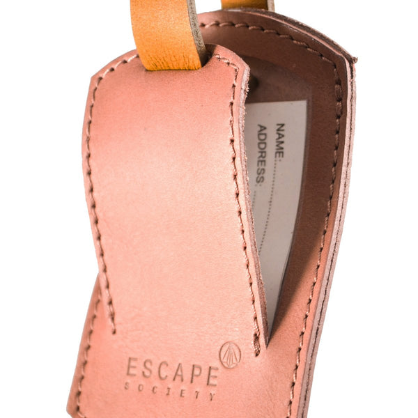 Escape Society Oval Genuine Leather Luggage Tag | Dusty Pink