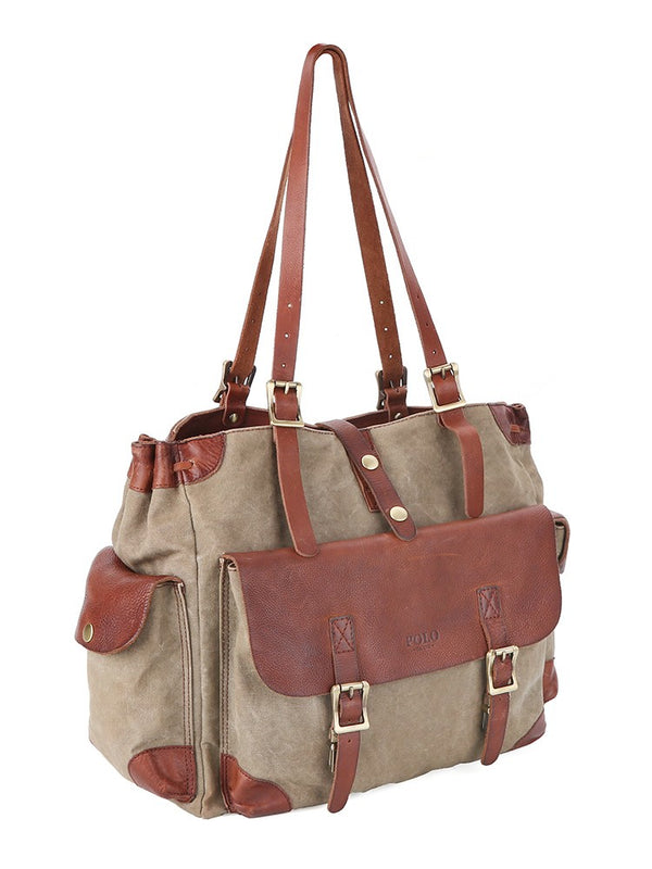 Polo Safari Canvas Satchel | Olive - KaryKase