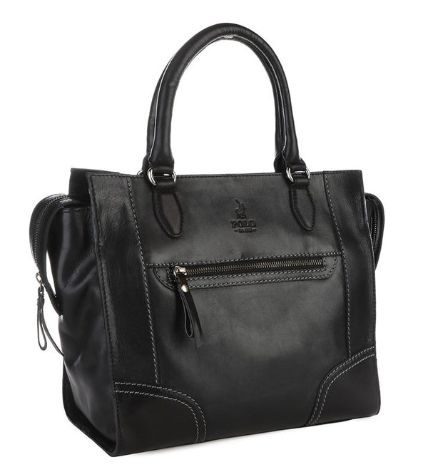 Polo Andes Leather Tote Handbag | Black - KaryKase
