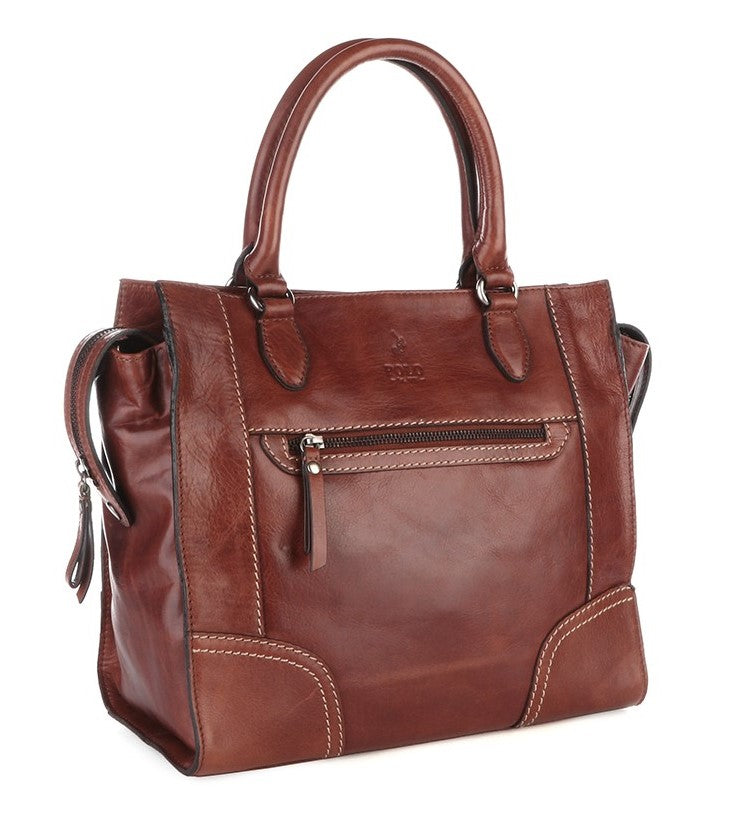 Polo Andes Leather Tote Handbag | Brown - KaryKase