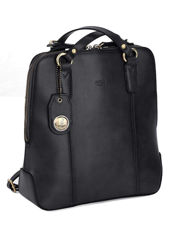 Polo Modello Leather Ladies Backpack | Black - KaryKase
