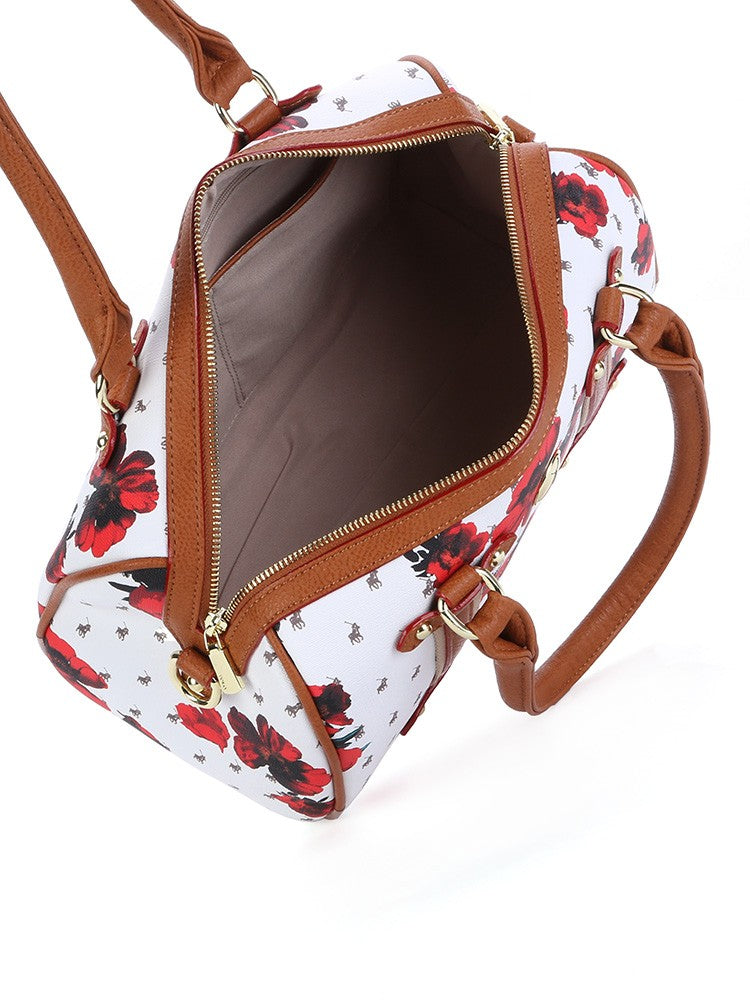 Polo Floral Heritage Barrel Handbag | Brown - KaryKase