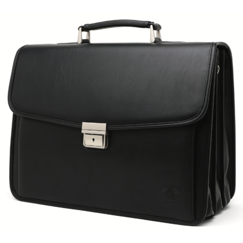 Tosca 3 Division Laptop Briefcase With Front Pocket | Black