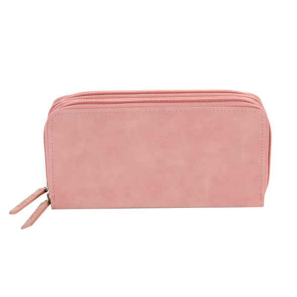 Escape Distressed Imitation Leather Two Zip Ladies Wallet | Light Pink - KaryKase