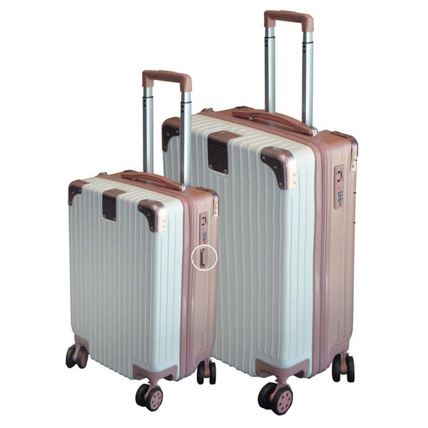 Eco Earth Berlin 2 Pc Luggage Spinner Set | Cream/Dusty Pink - KaryKase
