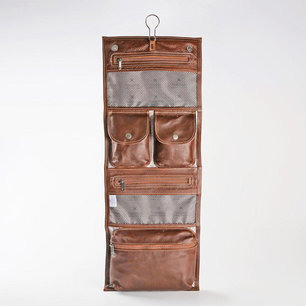 Thandana Roll Up Leather Toiletry Bag With Hook - KaryKase