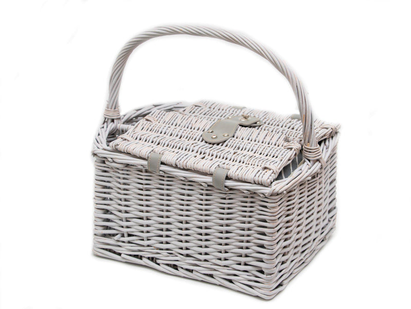 Yuppie Gift Baskets Romance Picnic Basket (2 Persons) | Grey Washed Wicker - KaryKase