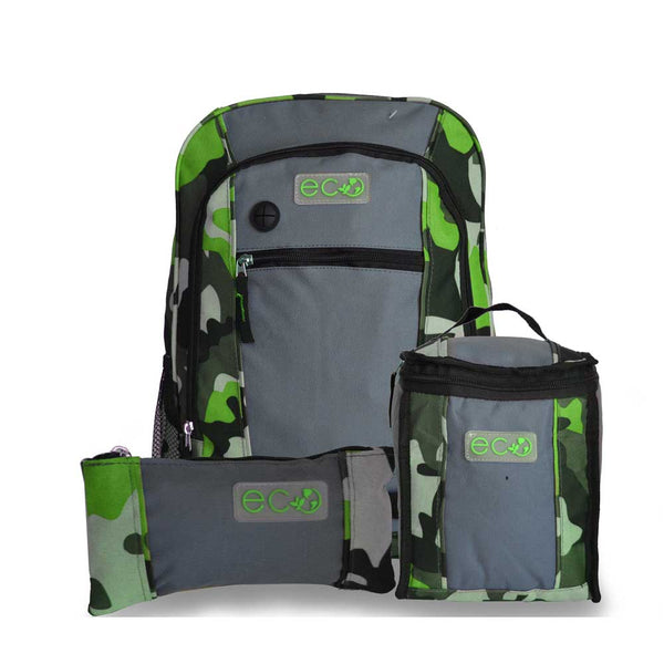 Eco Earth 3Pc School Backpack Set | Lime - KaryKase