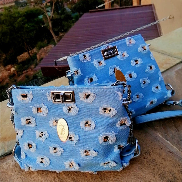 STB Secure Brokenhills Denim Sling Bag | Light Blue - KaryKase