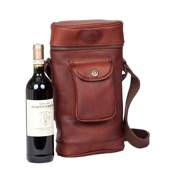 Melvill & Moon Leather Side By Side Wine Cooler | Brown - KaryKase