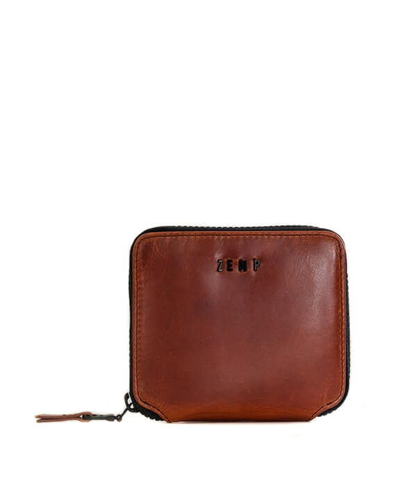 Zemp Sofia 6 CC Zip-around Compact Wallet | Chestnut - KaryKase