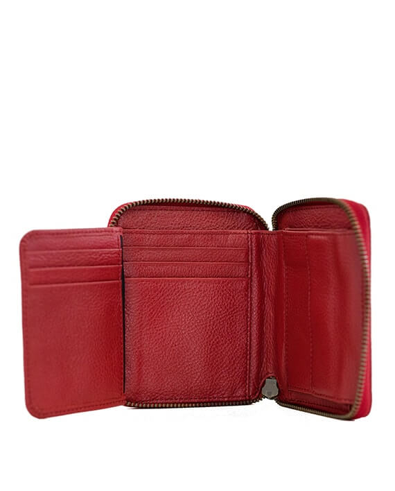 Zemp Sofia 6 CC Zip-around Compact Wallet | Red - KaryKase