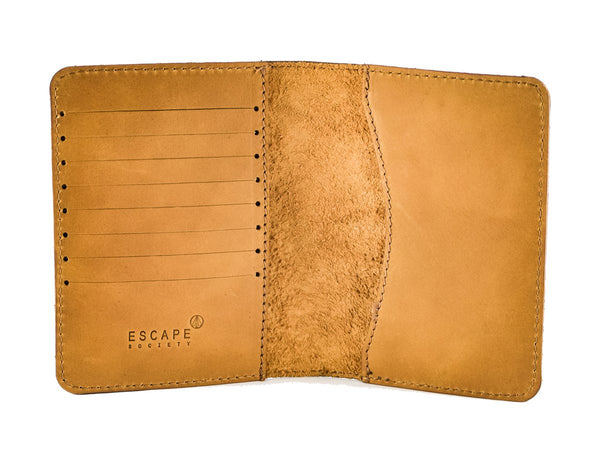Escape Society Genuine Leather Passport Holder | Tan