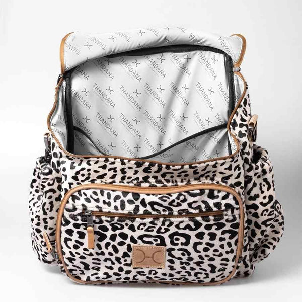 Thandana Leather Animal Printed Leather Nappy Backpack | Wild Cat Print - KaryKase