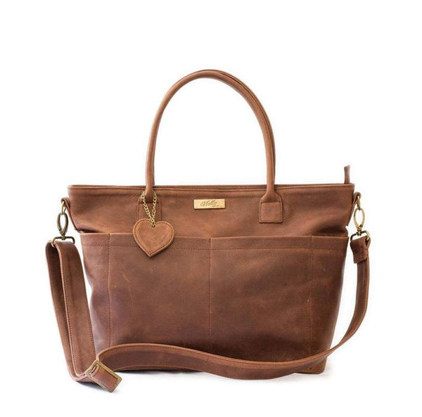 Mally Beula Leather Baby Bag | Brown - KaryKase