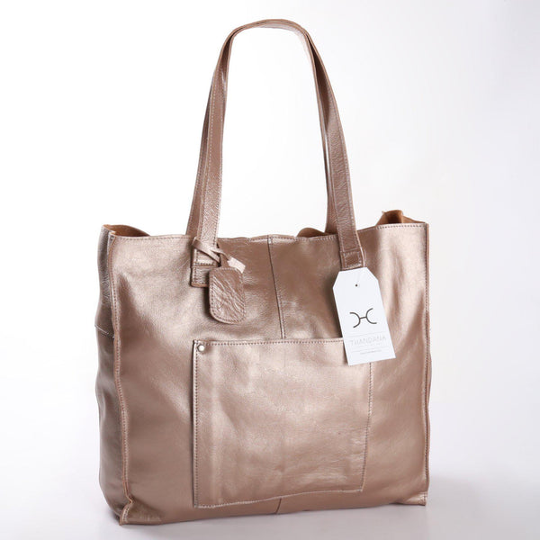 Thandana Tote Metallic Leather Handbag | Champagne - KaryKase