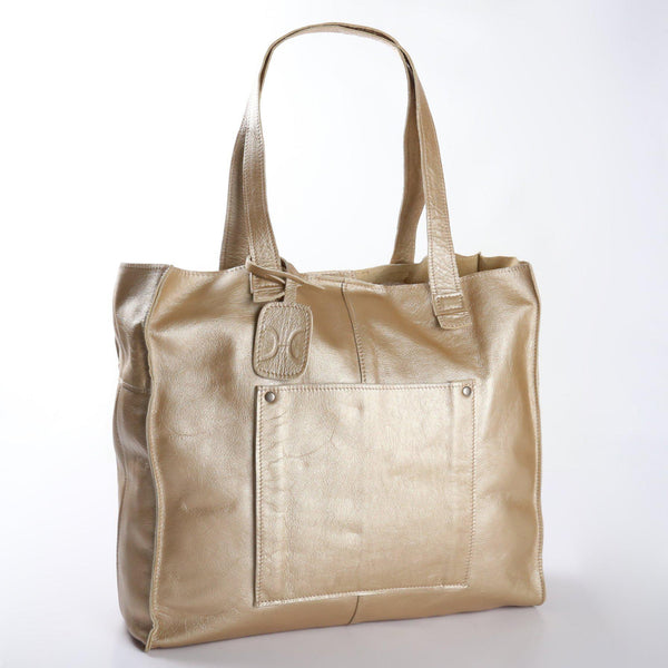 Thandana Tote Metallic Leather Handbag | Gold - KaryKase