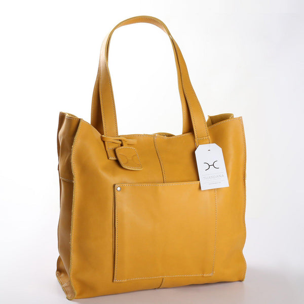 Thandana Tote Leather Handbag | Mustard - KaryKase