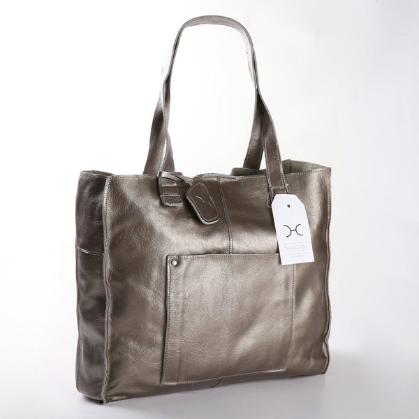 Thandana Tote Metallic Leather Handbag | Pewter - KaryKase