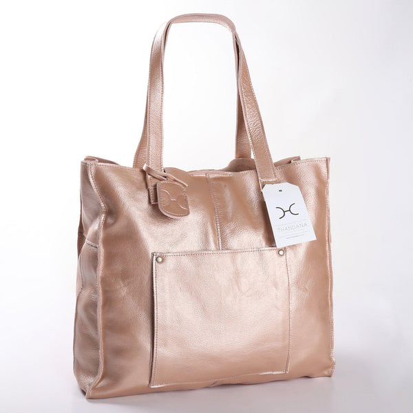 Thandana Tote Metallic Leather Handbag | Rose Gold - KaryKase