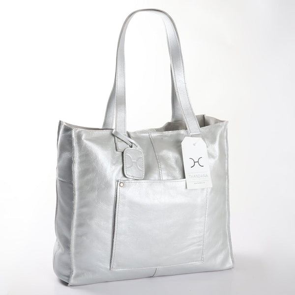 Thandana Tote Metallic Leather Handbag | Silver - KaryKase