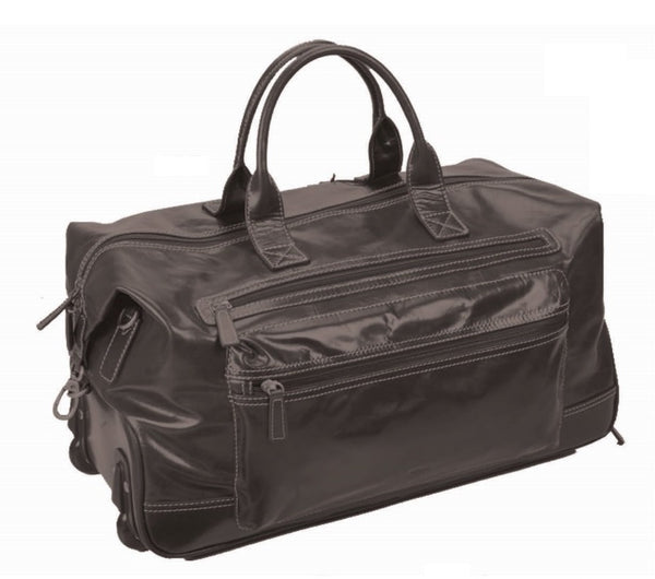 Adpel Navigator Leather Trolley Travel Duffel Bag | Black - KaryKase