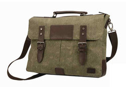 Adpel Canvas And Leather Briefcase | Brown - KaryKase