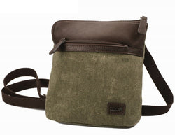 Adpel Canvas And Leather Cross Body Bag | Brown - KaryKase