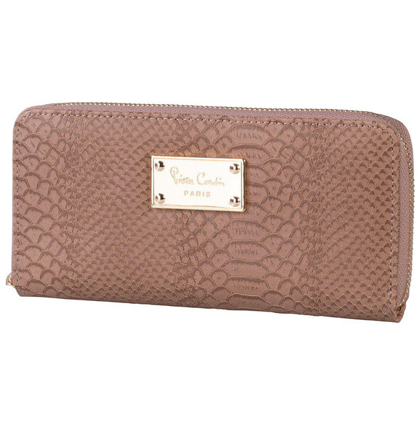 Pierre Cardin Regan Croc Zip Around Purse | Choc - KaryKase