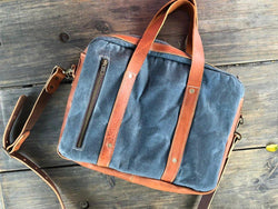 Bark And Mill Waxed Canvas Briefcase | Atlantic - KaryKase