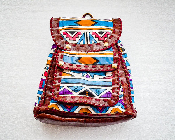 Mebala Handmade Casual Backpack | Brown/TR Print