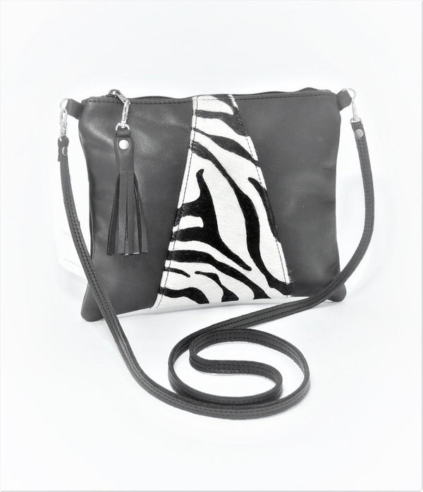 Thandana Crossover Animal Print Leather Handbag | Black Zebra Print - KaryKase