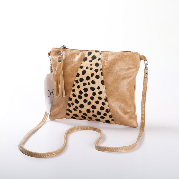 Thandana Crossover Animal Print Leather Handbag | Hazelnut Cheetah Print - KaryKase