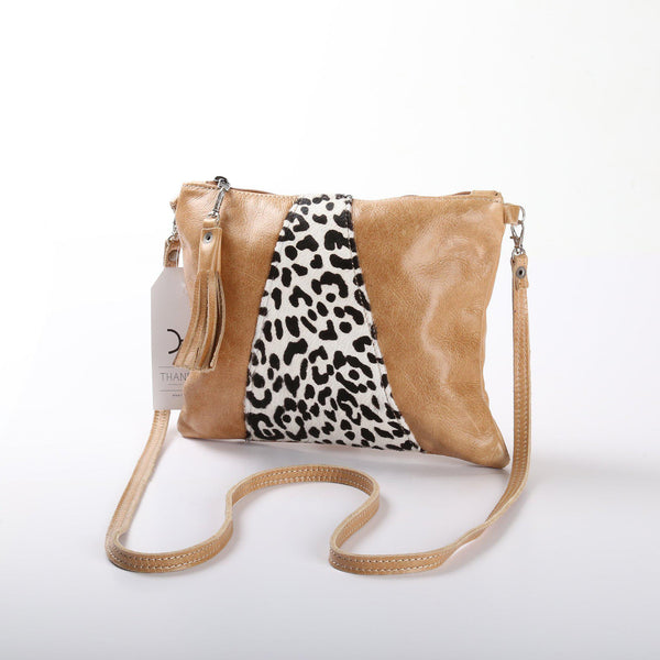 Thandana Crossover Animal Print Leather Handbag | Hazelnut Leopard Print - KaryKase
